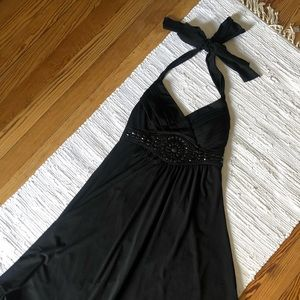 Trixxi black halter dress with beading